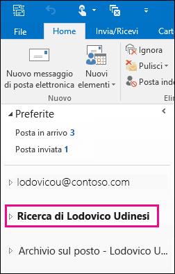 Il file PST viene visualizzato nella barra di spostamento sinistra di Outlook