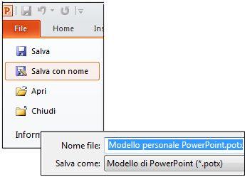 Salvare una presentazione come file .potx