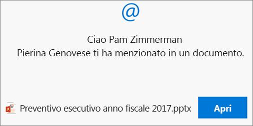 La funzione Menzioni nei commenti invierà un messaggio di posta elettronica contenente un collegamento al destinatario.