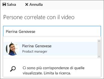 Associare un video a una persona nell'organizzazione.