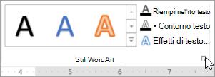 Selezionare il pulsante di visualizzazione della finestra di dialogo Stili WordArt