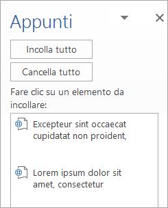 Mostra il riquadro attività Appunti con il contenuto copiato