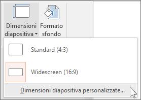 Nella scheda Progettazione della barra multifunzione selezionare Dimensioni diapositiva e quindi Dimensioni diapositiva personalizzate.
