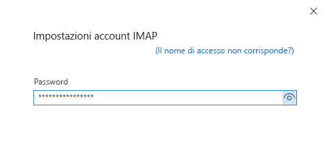 Finestra di dialogo Configurazione dell'account, pagina della password.