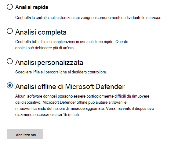 Finestra di dialogo Opzioni di analisi che mostra l'analisi offline di Microsoft Defender selezionata.