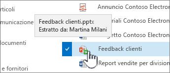 Posizionare il puntatore del mouse sull'icona con la freccia verde e vedere chi ha un file estratto.