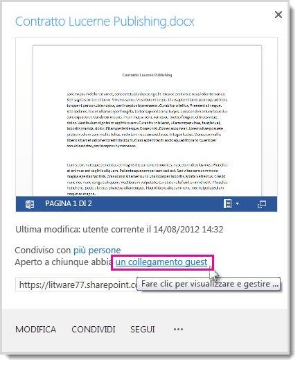 Finestra di dialogo delle proprietà in cui è mostrato che il documento è stato condiviso mediante un collegamento guest.