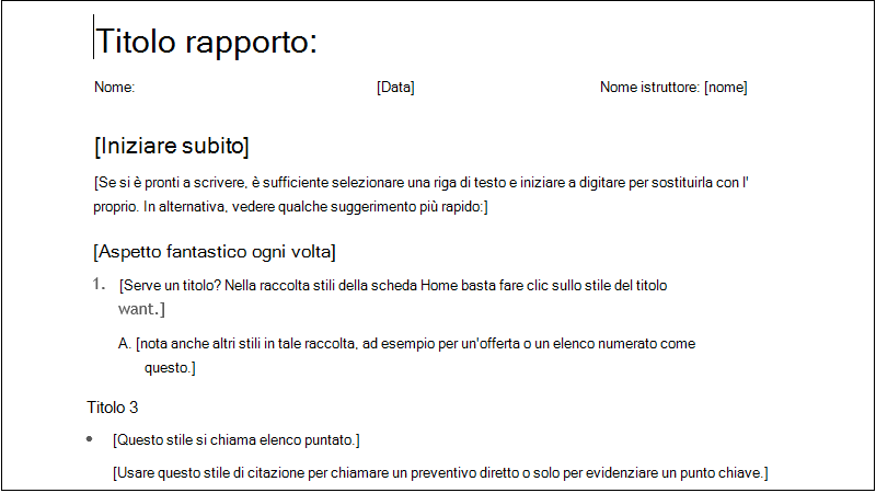 Screenshot di un report studente semplice