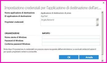 """Schermata della finestra di dialogo """"Impostazione credenziali per l'applicazione di destinazione dell'archiviazione sicura"""". È possibile usare questa finestra di dialogo per impostare le credenziali di accesso per un'origine dati esterna"""