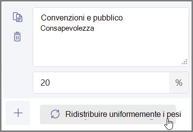 """Fai clic sul pulsante """"Evenly distribute weights"""" (Distribuzione omogenea pesi) per assegnare automaticamente le percentuali e i punti"""