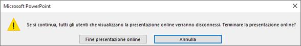 Finestra di dialogo per terminare una presentazione di PowerPoint online