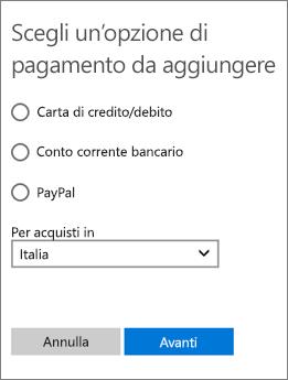 Menu per la scelta del metodo di pagamento, con le opzioni disponibili per gli Stati Uniti.