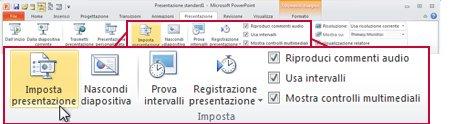 Gruppo Imposta della scheda Presentazione sulla barra multifunzione di PowerPoint 2010