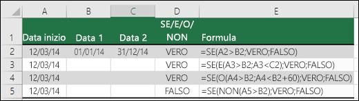 Esempi di utilizzo della funzione SE con E, O e NON per valutare date
