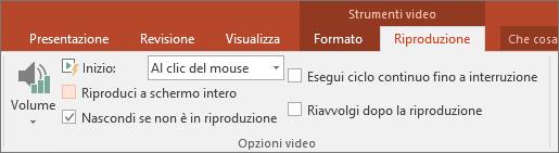Casella di controllo Nascondi se non è in riproduzione in Strumenti video di PowerPoint