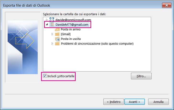Scegliere il nome dell'account Gmail da importare