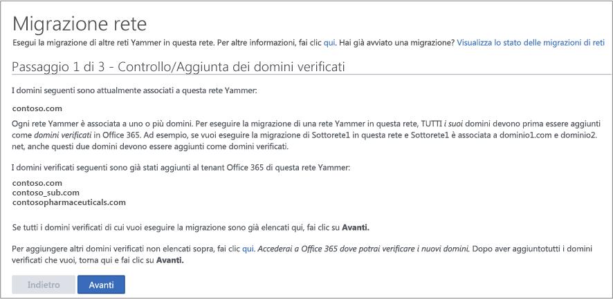 Screenshot del passaggio 1 di 3 - Controllo/Aggiunta dei domini verificati prima della migrazione di una rete Yammer