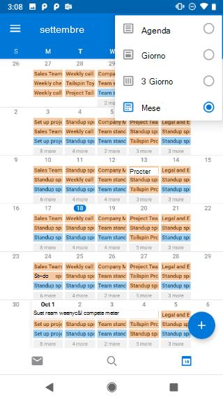 Mostra un calendario, con un menu a discesa nell'angolo in alto a destra. Include le opzioni Agenda, Giorno, 3 giorni e Mese.