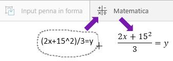 Mostra l'equazione digitata, il pulsante Matematica e l'equazione convertita