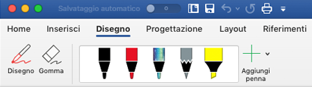 Penne ed evidenziatori nella scheda disegno in Office 365 per Mac