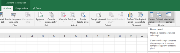 Opzione elenco campi sulla barra multifunzione