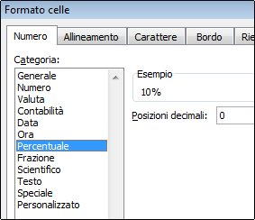 categoria percentuale nella finestra di dialogo formato celle