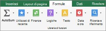 Nella scheda formule fare clic su testo.