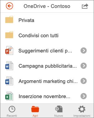 File di OneDrive in Office Mobile