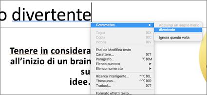 Parole sottolineate in blu con menu di scelta rapida che mostra un suggerimento grammaticale