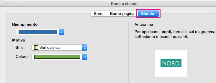 Fare clic sulla scheda Sfondo per riempire il testo selezionato di colori e motivi.