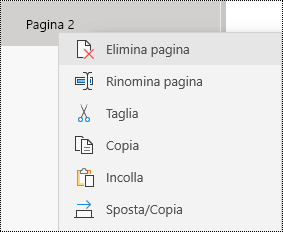 Rimuovi pagina nell'app OneNote per Windows 10