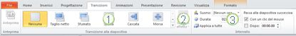 Scheda Transizioni sulla barra multifunzione di PowerPoint 2010