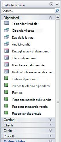 Riquadro di spostamento con il gruppo Tutte le tabelle della categoria Tabelle e viste correlate nel database di esempio Northwind