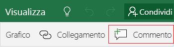 Aggiungere un commento in Excel Mobile per Windows 10