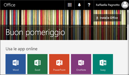 Screenshot che mostra la home page con il pulsante Installa Office