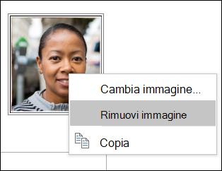 È possibile modificare o rimuovere l'immagine del contatto.