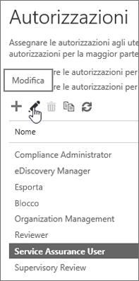 Ruolo Utente qualità del servizio evidenziato e icona Modifica selezionata