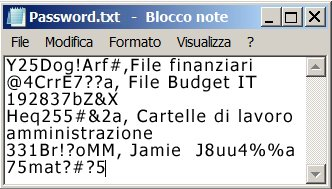 Elenco di password in un file di Blocco note