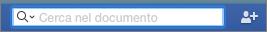 Immettere il testo da cercare nel documento