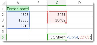 Uso di SOMMA con due intervalli di numeri
