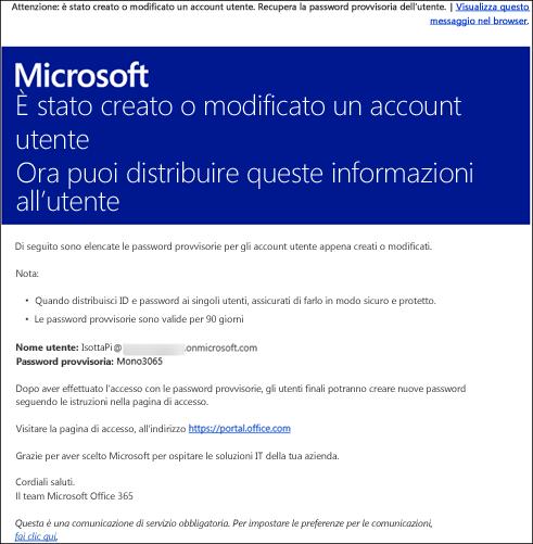 Esempio di messaggio di posta elettronica con informazioni su account e accesso per Office 365