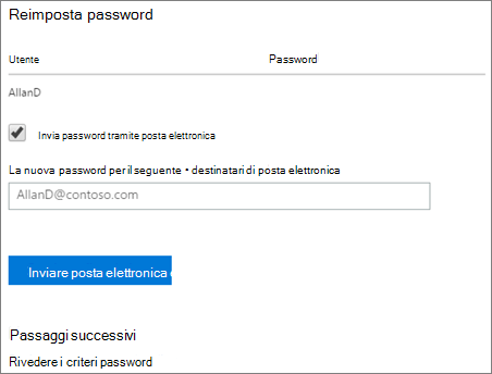 Schermata: Invia reimpostazione password notifica all'utente