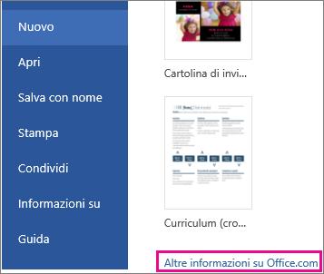 fare clic su Altre informazioni su Office.com