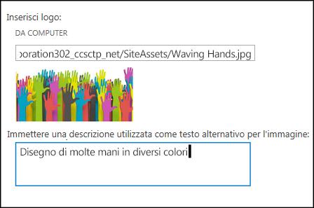 Finestra di dialogo titolo e logo del nuovo sito di SharePoint Online che mostra come creare testo alternativo per l'immagine del logo