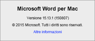 Screenshot della pagina Informazioni su Word in Word per Mac