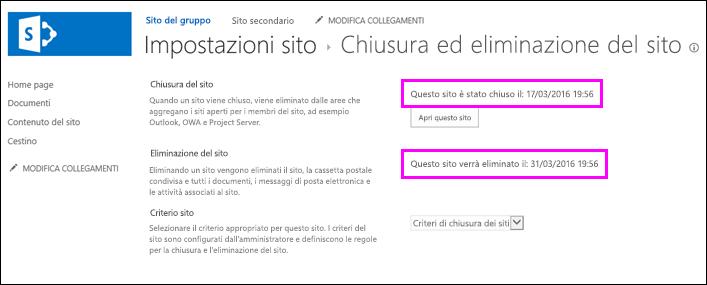 Pagina Chiusura ed eliminazione del sito con date