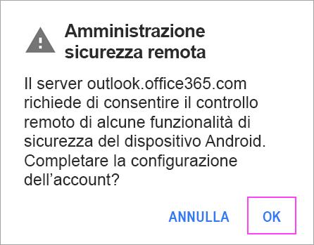 Fare clic su Ok per qualsiasi richiesta visualizzata.