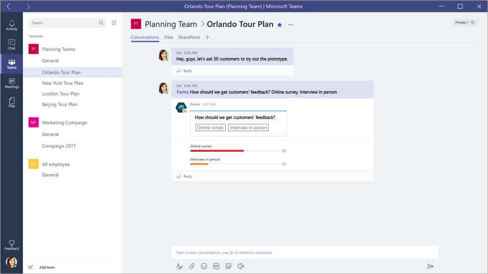Risposta a un QuickPoll di Microsoft Forms in Microsoft Teams