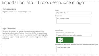 Descrizione del sito e sito logo alttext in Project Online