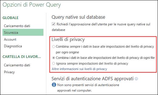 Power Query - Opzione per la disabilitazione dei prompt relativi al livello di privacy per ogni computer (incluse le chiavi del Registro di sistema)